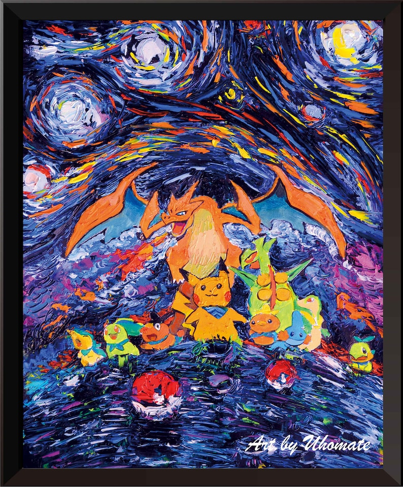 0683f6eed428 Vincent Van Gogh Starry Night Posters Pikachu and Dragon