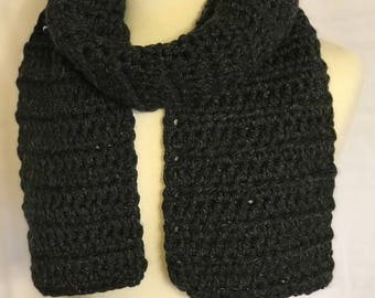 Chunky Winter Scarf, Thick and Warm, Dark Charcoal Grey
