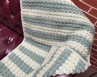 Handmade Crochet Baby Blanket, Soft and Textured, Light Green and Dark Sage