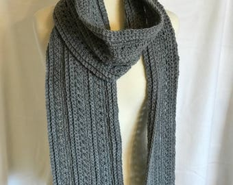 Thick Winter Scarf, Warm and Cozy, Grey, Men's Scarf