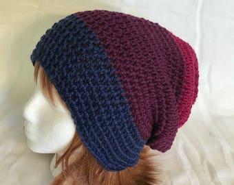 Unisex Slouchy Beanie, Handmade Crochet, Soft and Warm, Multi-Color