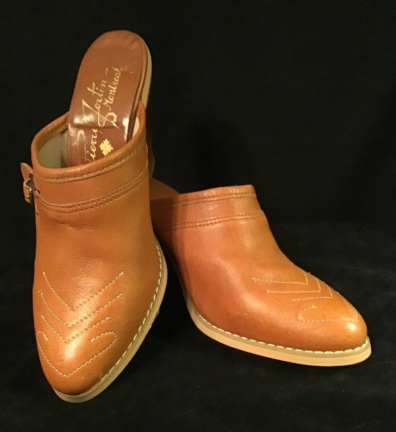 Pair Brown Leather Mules With Topstitching Pierre Fortin Montreal 5 12