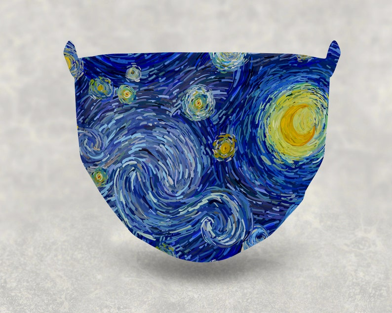 Van Gogh Starry Night Soft Cloth Breathable PM2.5 5 Layers Filter Face Mask
