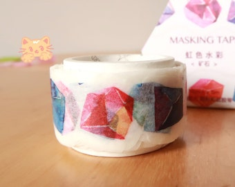 Rainbow Gemstones Washi Tape: Watercolor Style, Perfect for Scrapbooking, DIY Crafts, Decoration