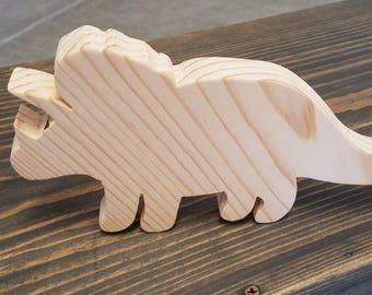 Handmade Real Wood Triceratops Dinosaur