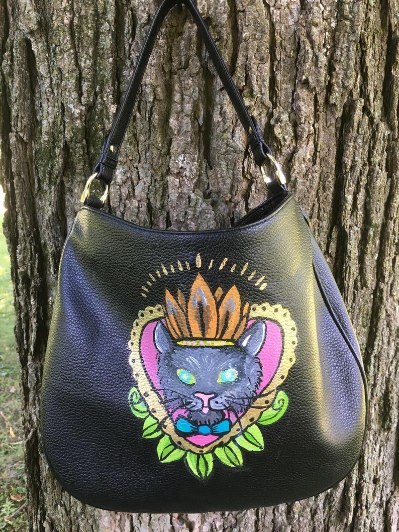 Princess Kitty Cat tattoo flash art hobo shoulder crossbody black vegan  leather handbag purse 6d2109ef09a22