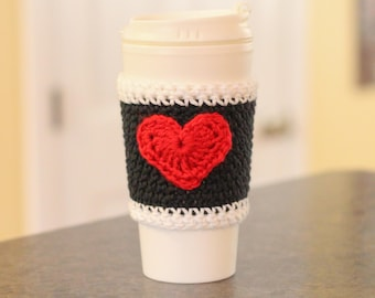 Valentine's Day Coffee Cup Cozy, Heart Coffee Cup Sleeve, Crochet Heart Teacup Cozy, Coffee Lover Gift, Tea Lover Gift, Iced Coffee Cup Cozy