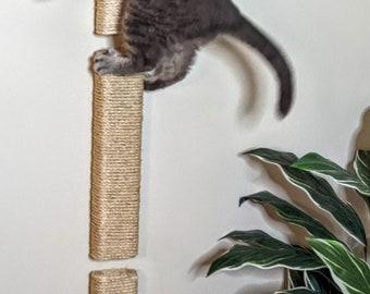 Cat Scratching Post / Vertical Scratchers  / Cat Furniture Wall mounted  / Cat Climber Sisal -  3 pack