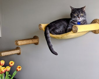 Cat Hammock, Cat Tree, Cozy Bed - Unique Gift for Cat Lover, Wall Mounted Cat Shelf, Floating Perch with Two Sisal Steps - Mustard Yellow