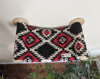 Cat Hammock, Cat Tree, Cozy Cat Bed - Unique Gift for Cat Lover, Wall Mounted Cat Shelf, Perch, Cat Hammock - Southwestern Black and Red