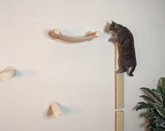 Cat Play Furniture Wall-mounted Scratching Climbing Steps with Cozy Floating Cat Hammock Choice of Color