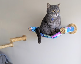 Cat Hammock, Cat Tree, Cozy Cat Bed - Unique Cat Gift for Cat Lover, Wall Mounted Cat Shelf, Perch Hammock with Two Sisal Steps - Happy Cats