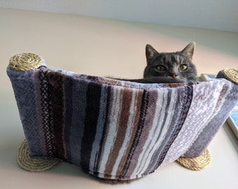 Cat Hammock, Cat Tree, Cozy Cat Bed - Unique Gift for Cat Lover, Wall Mounted Cat Shelf, Perch, Cat Hammock with Two Sisal Steps - Stripes