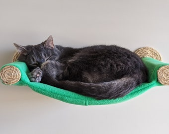 Cat Hammock, Cat Tree, Cozy Cat Bed - Unique Gift for Cat Lover, Wall Mounted Cat Shelf, Perch, Cat Hammock - New Spring Green