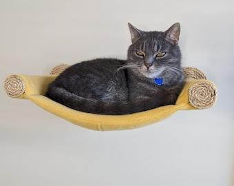 Cat Hammock, Cat Tree, Cozy Cat Bed - Unique Gift for Cat Lover, Wall Mounted Cat Shelf, Perch, Hammock - Mustard Yellow