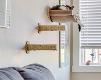 Cat Hammock with Two Sisal Steps - Tan