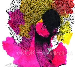 BIRD- Grey crowned crane, animal alphabet,  whimsical art, nursery art , wall decor