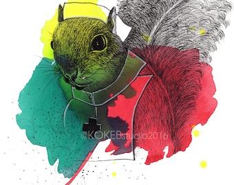 SQUIRREL -  whimsical art , nursery decor 8x10 digital print