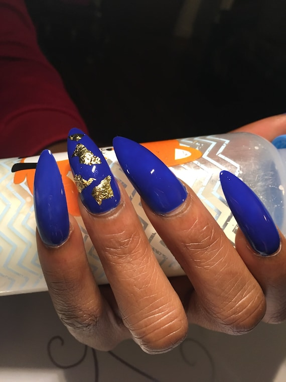Royal Blue Fake Nails Gold Foil Press On Nails Faux Nail Set Acrylic Nails Blue Nails False Nails Coffin Nails Stiletto Nails