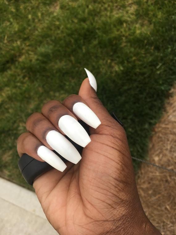 White Fake Nails Press On Faux Nail Set Acrylic