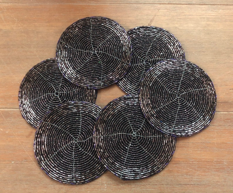 Handmade Beaded Coasters ready to ship 4 inches Decorative Coasters Gift for her Purple Coasters Housewarming present Set of 6