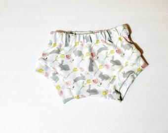 Baby girl bunny shorties. Bunny bloomers.  Easter shorties. bunny shorties