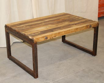 Wooden and steel coffee table