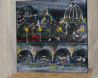 Rome skyline drip painting