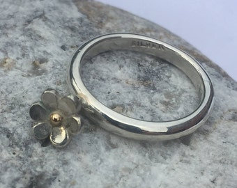 Sterling Silver D Shape Ring with a Beautiful Dangling Daisy Flower ~ Hand Made - 925