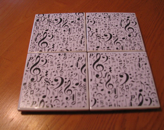 Coasters for Drinks - Tile Coasters - Handmade Coasters -Musical Notes and Symbols - Coasters - Drink Coasters - Decoupage Coasters