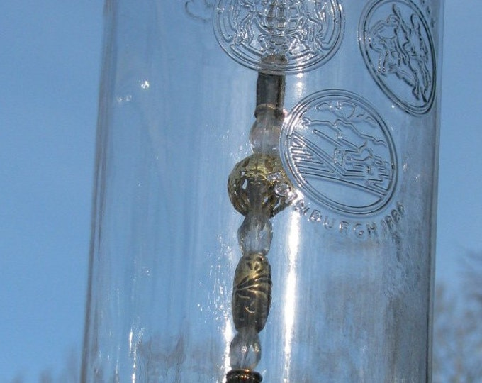 Dewars Scotch bottle wind chime, dragonfly pendant, crystal and gold beads, gifts for him housewarming gift, garden decor, patio decor