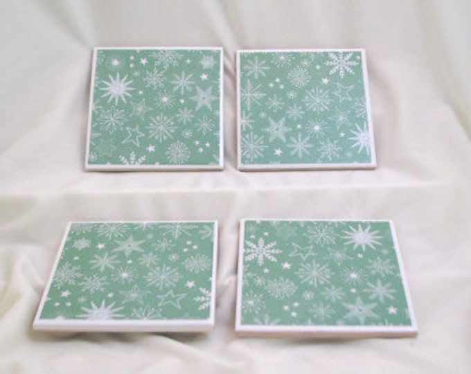 Coasters for Drinks - Father's Day gift - Handmade Coasters - Sparkling Snowflakes - Winter Theme - Drink Coasters - Decoupage Coasters