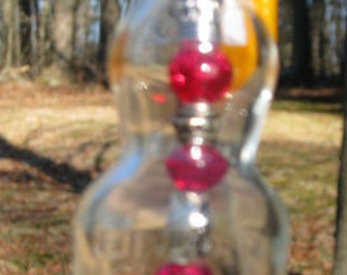 Vintage nipper bottle wind chime, suncatcher, silver and red beads, squirrel charm, gifts for him, housewarming, garden patio decor beach