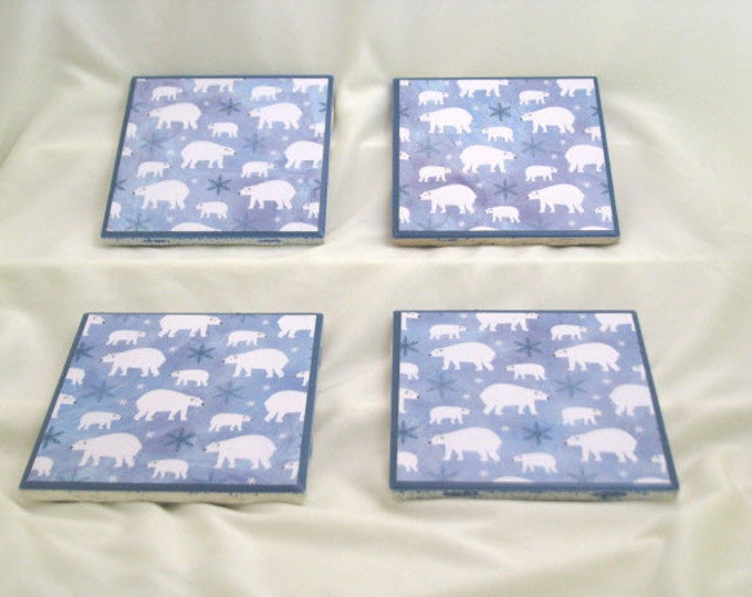 Coasters for Drinks - Father's Day gift - Handmade Coasters - Polar Bears and Snowflakes - Winter theme- Drink Coasters - Decoupage Coasters