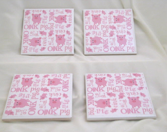 Coasters for Drinks - Father's Day gift - Handmade Coasters - Pink Pigs Oink - Farm Life - Drink Coasters - Decoupage Coasters - Pig Lovers