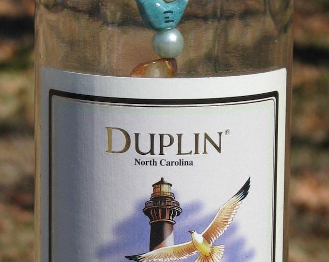 Duplin Lighthouse label Wine bottle wind chime, bird and shell beads, wine gifts, bird lovers, garden patio decor, beach lovers wine lovers