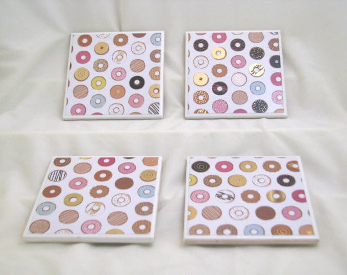Coasters for Drinks - Handmade Coasters - Multicolored Donuts with gold accents  Donut lovers Coasters - Drink Coasters - Decoupage Coasters
