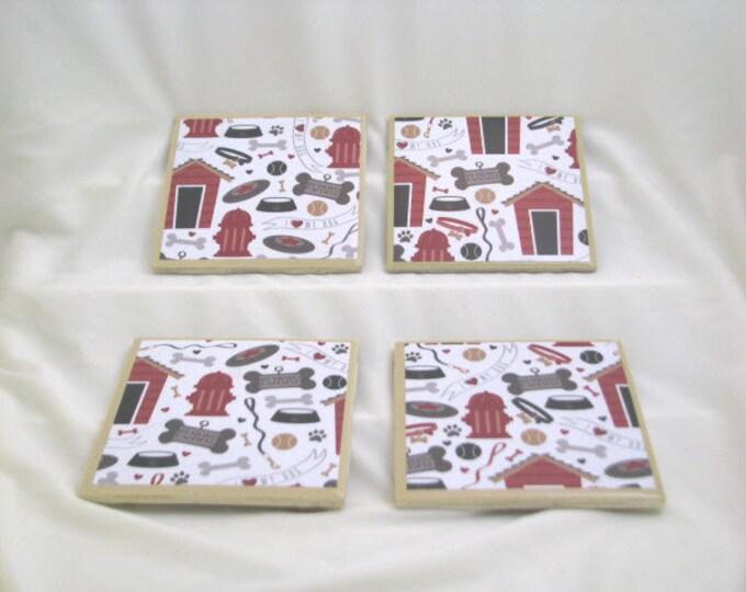 Coasters for Drinks - Tile Coasters - Handmade Coasters - Cute Dog Theme - Dog Lovers - Coasters - Drink Coasters - Decoupage Coasters