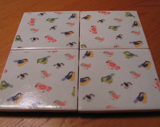 Coasters for Drinks - Tile Coasters - Handmade Coasters - Multicolored birds - Bird lovers - Drink Coasters - Decoupage Coasters