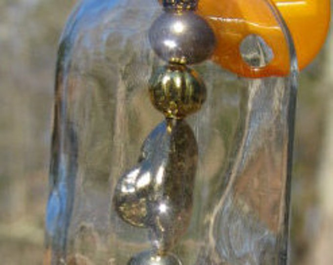 Vodka nipper bottle wind chime, suncatcher silver and gold beads, boat wheel charm gifts for him housewarming, garden patio decor nautical
