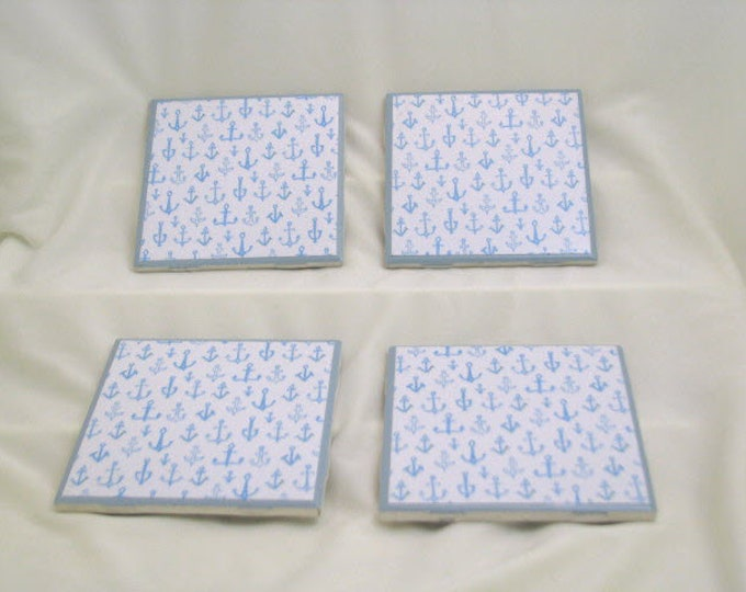 Coasters for Drinks - Father's Day gift - Handmade Coasters - Small light blue anchors - Coasters - Drink Coasters - Decoupage Coasters