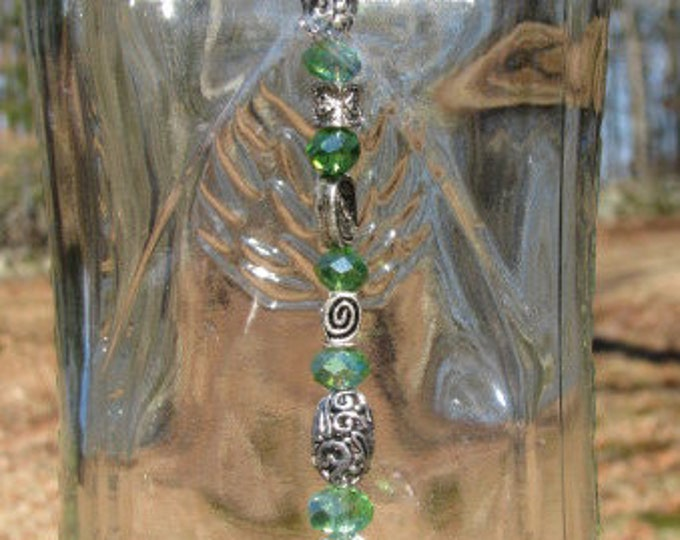 Hornitos Tequila bottle wind chime, faux lime wind sail, fancy silver and green beads, gifts for her, housewarming gift, garden patio decor