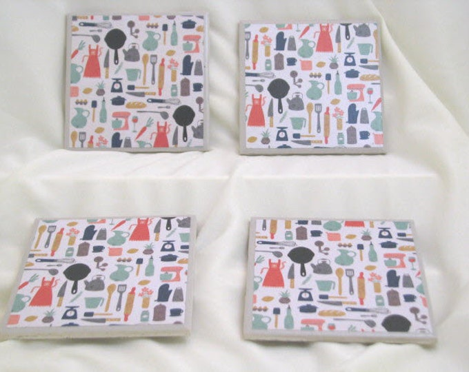 Coasters for Drinks - Father's Day gift - Handmade Coasters - Kitchen tools theme - For the Chef - Drink Coasters - Decoupage Coasters