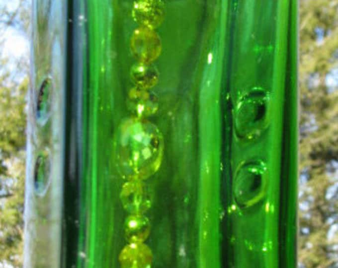 Green Olive Oil bottle wind chime,  glass pendant, California Olive Ranch, gifts for him,  gifts for her, home decor garden patio decor