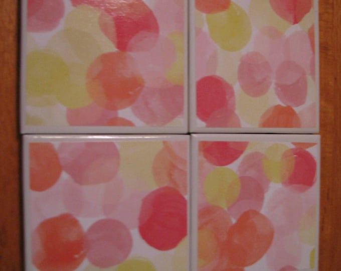 Coasters for Drinks - Tile Coasters - Handmade Coasters - pink yellow & orange watercolor dots- Drink Coasters - Decoupage Coasters