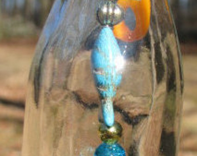 Vintage nipper bottle wind chime, suncatcher, blue and gold beads, sand dollar charm, gifts for him, housewarming, garden patio decor beach