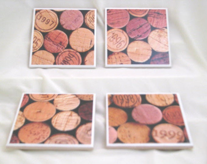 Coasters for Drinks - Tile Coasters - Handmade Coasters - Wine Corks - Teachers gift - Coasters - Drink Coasters - Decoupage Coasters