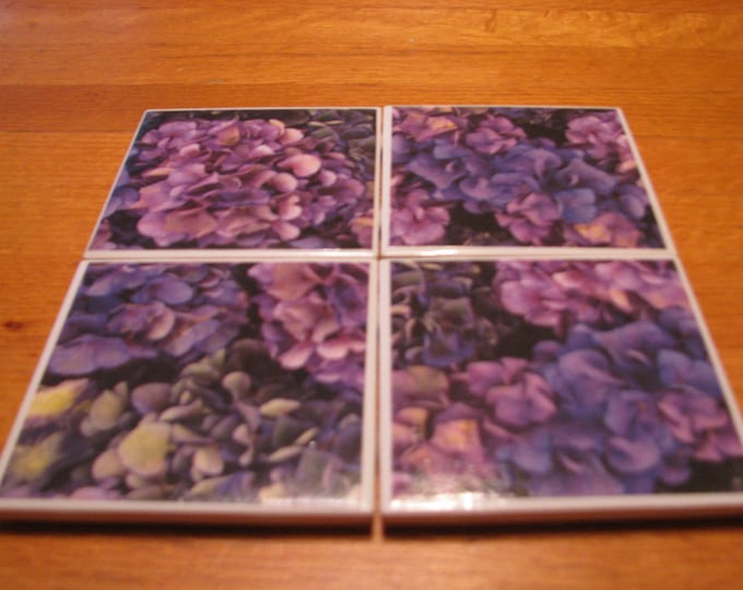 Coasters for Drinks - Tile Coasters - Handmade Coasters  - purple hydrangeas - flower lovers  - Drink Coasters - Decoupage Coasters