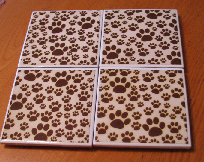 Coasters for Drinks - Tile Coasters - Handmade Coasters- brown dog paws on tan background, dog lovers- Drink Coasters - Decoupage Coasters