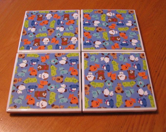 Coasters for Drinks - Tile Coasters - Handmade Coasters - Cartoon Dogs - Teachers gift - Coasters - Drink Coasters - Decoupage Coasters